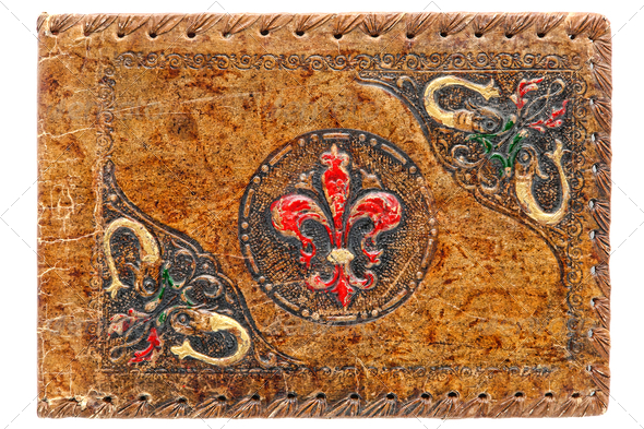 Old Antique Embossed Leather Journal Painted Cover - Stock Photo - Images