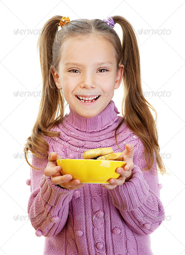 little girl closeup in pink sweater - Stock Photo - Images