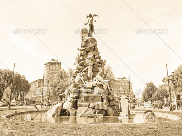 Traforo del Frejus statue, Turin - Stock Photo - Images