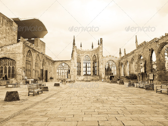 Coventry Cathedral ruins - Stock Photo - Images