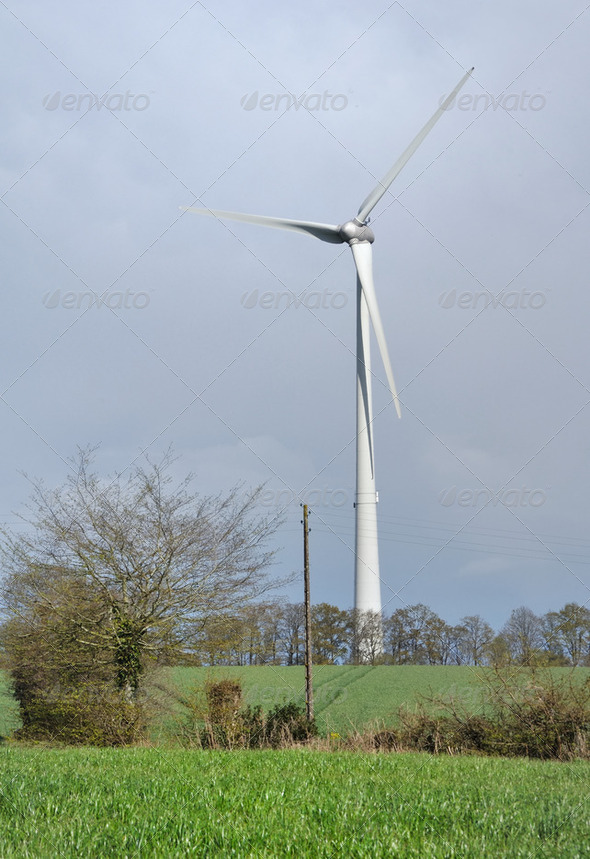 wind turbine in rural landscape - Stock Photo - Images
