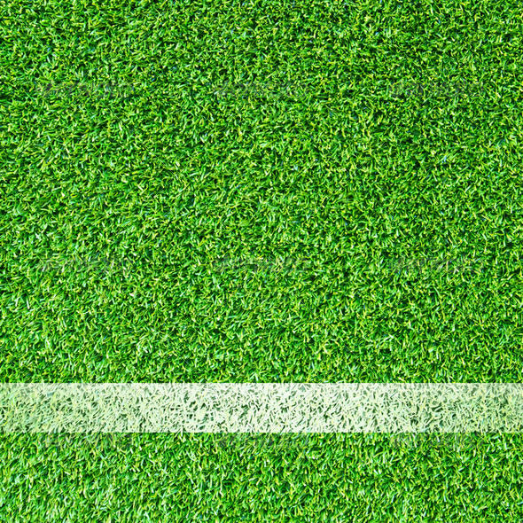 White stripe on the green soccer field - Stock Photo - Images