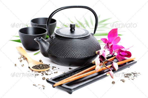 Green tea and chopsticks - Stock Photo - Images