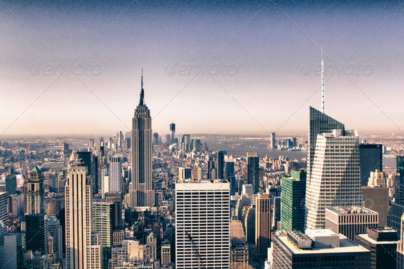 Urban Skyscrapers in Manhattan, New York City - Stock Photo - Images