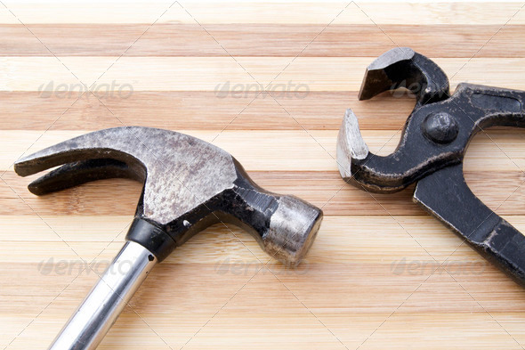 Old wrench and hammer - Stock Photo - Images