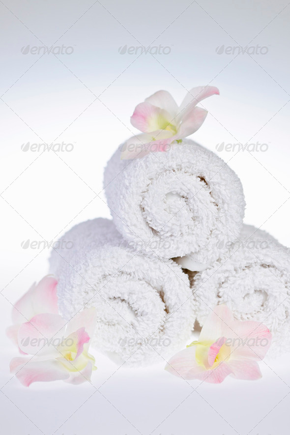 White rolled up spa towels - Stock Photo - Images