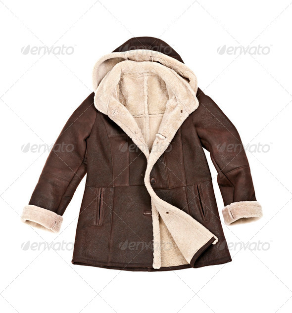Sheepskin winter coat - Stock Photo - Images