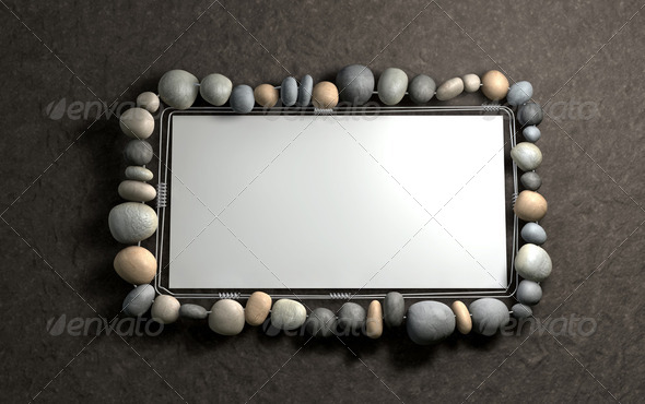 Hanging Stone Picture Frame - Stock Photo - Images