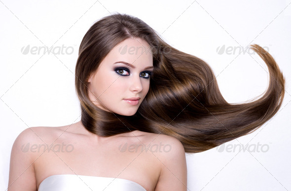 Beautiful teen girl with long hair - Stock Photo - Images
