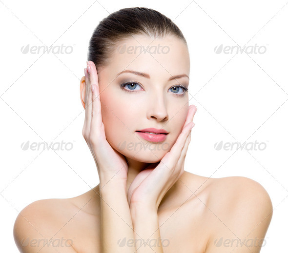 Beautiful woman with clean skin of the face - Stock Photo - Images