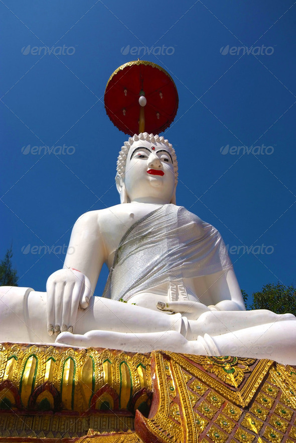White Buddha statue - Stock Photo - Images