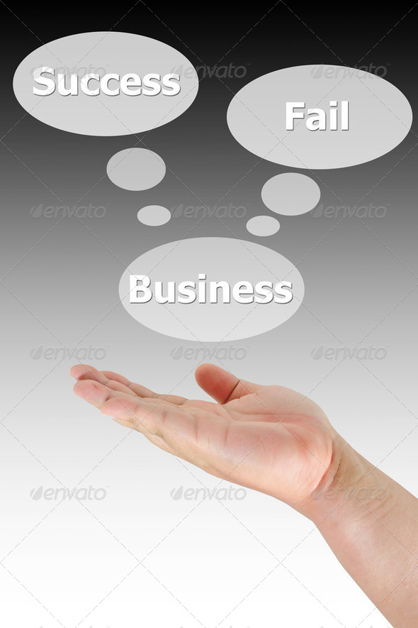hand pushing the business choice - Stock Photo - Images