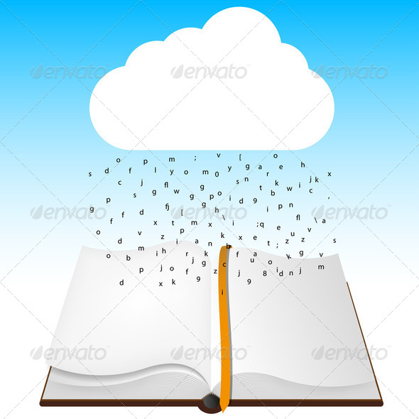 concept computer cloud with open book.  - Stock Photo - Images