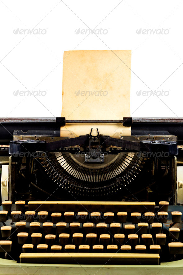 old typewriter with paper - Stock Photo - Images