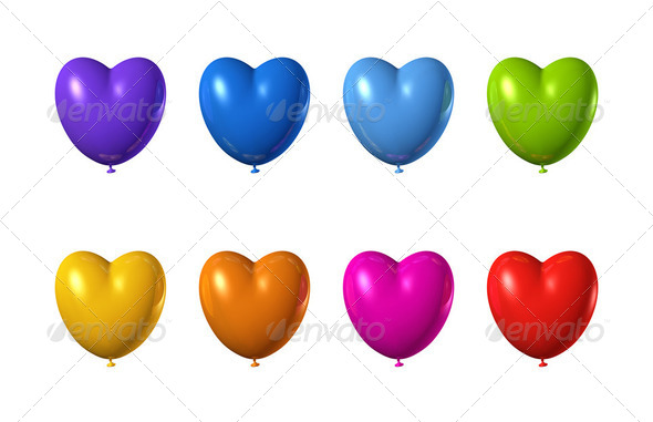 colored heart shape balloons set isolated on white - Stock Photo - Images