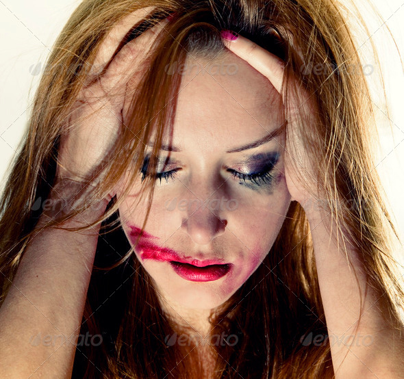 Emotional portrait of the young depression woman - Stock Photo - Images