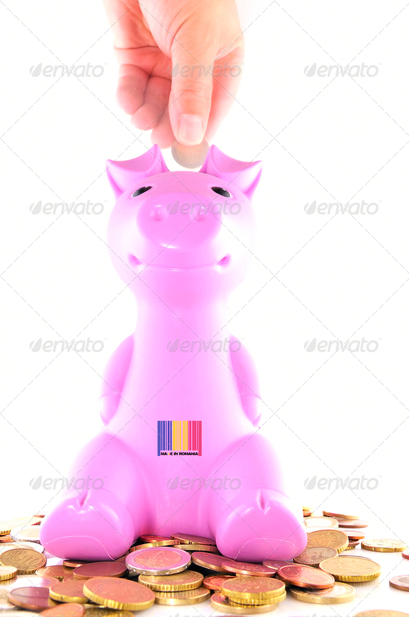 Piggy bank Romania. - Stock Photo - Images