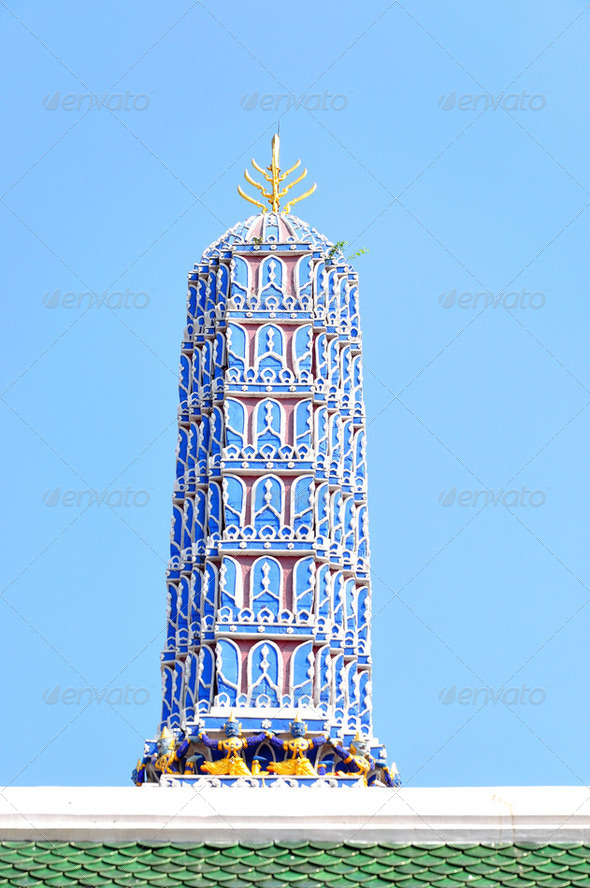 The pagoda of Wat Phra Kaew thailand - Stock Photo - Images