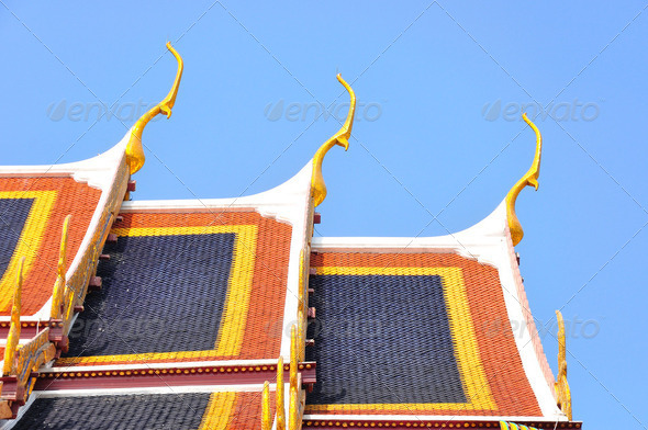 thai temple roof - Stock Photo - Images
