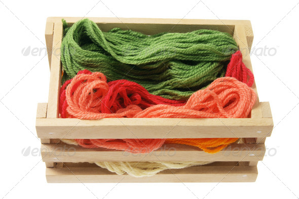 Yarn in Wooden Box - Stock Photo - Images