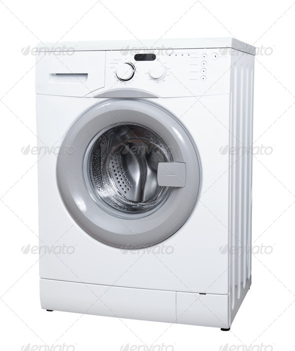 Washing machine isolated on white background - Stock Photo - Images