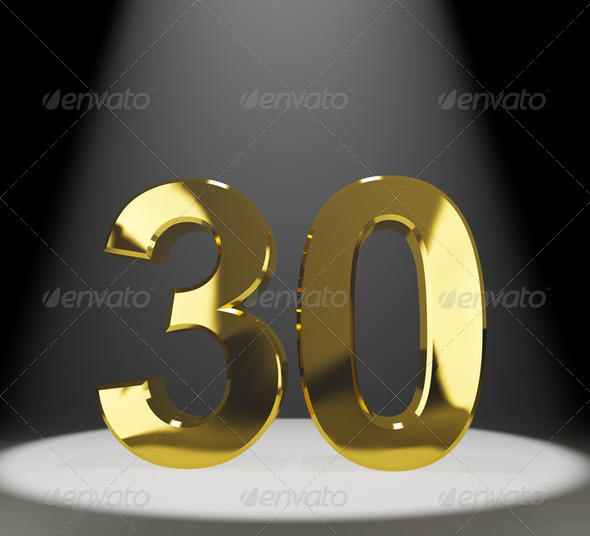 Gold 30th Or Thirty 3d Number Closeup Representing Anniversary - Stock Photo - Images