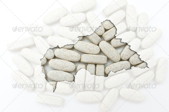Outline map of central african republic with pills in the backgr - Stock Photo - Images