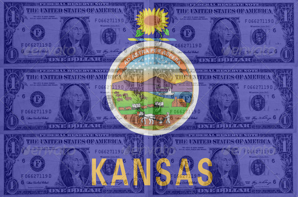 US state of kansas flag with transparent dollar banknotes in bac - Stock Photo - Images