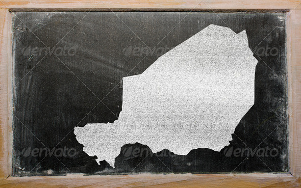 outline map of niger on blackboard - Stock Photo - Images