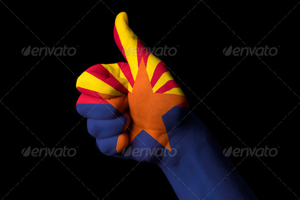 arizona us state flag thumb up gesture for excellence and achiev - Stock Photo - Images