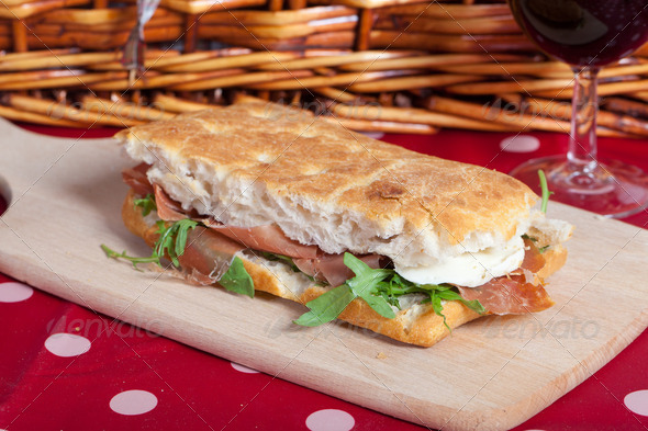 Focaccia sandwich - Stock Photo - Images