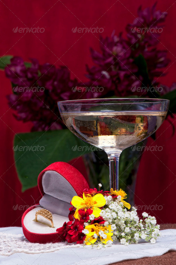 flowers and gift package - Stock Photo - Images