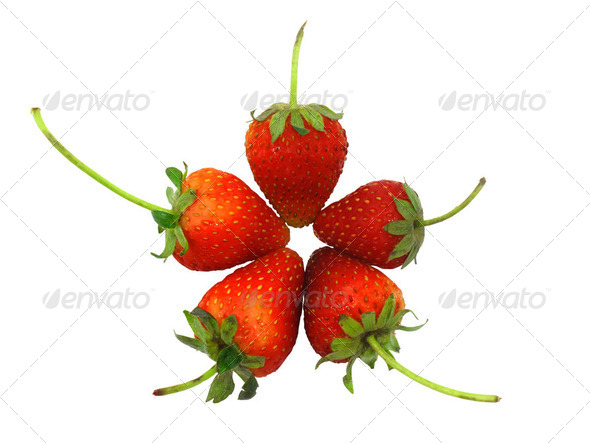 Five strawberries in flower or star shape - Stock Photo - Images