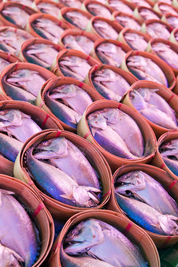Mackerel fish in bamboo basket at market,Samutsongkram province-Thailand  - Stock Photo - Images