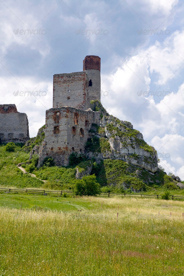 Old castle ruins in Poland in Europe - Stock Photo - Images