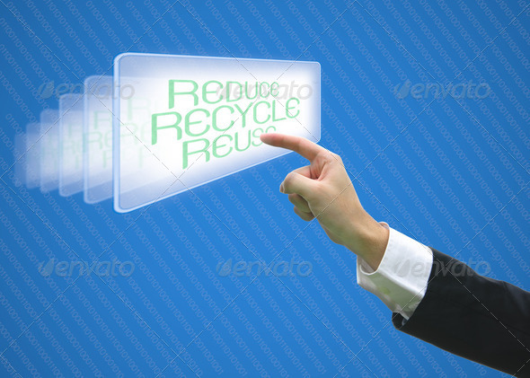 Business pointing screen recycle reuse reduce - Stock Photo - Images