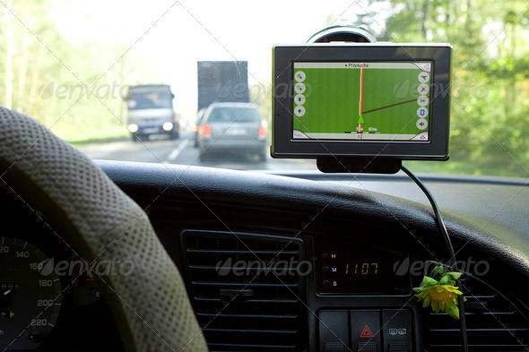 GPS Navigation in Travelling Car - Stock Photo - Images
