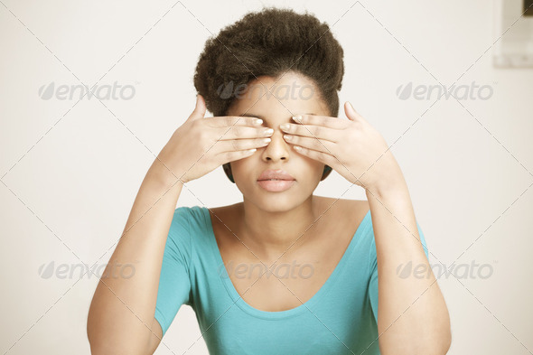 Closing eyes - Stock Photo - Images