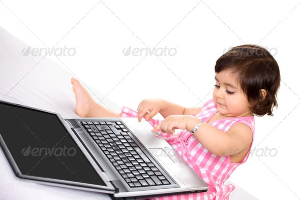 Laptop baby - Stock Photo - Images