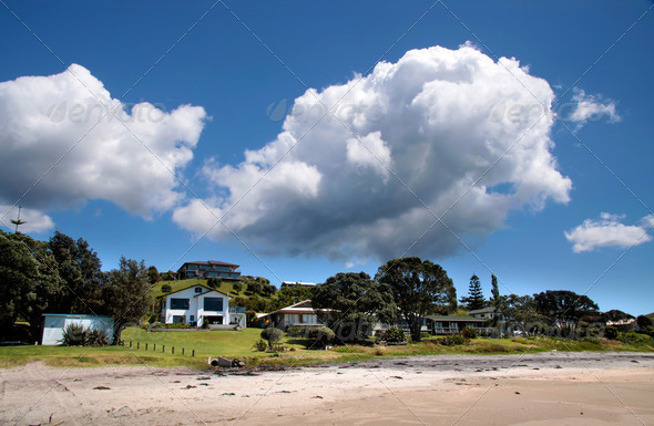 Villas near the coast of Whitianga - Stock Photo - Images