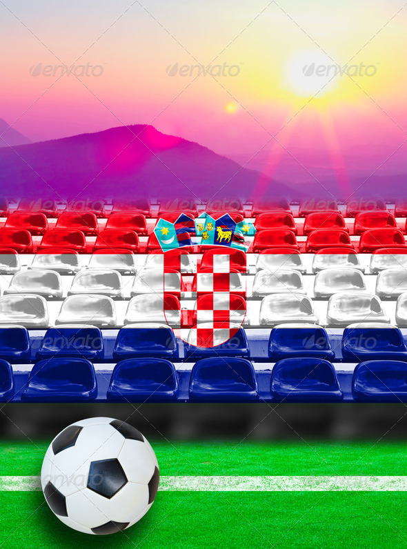 Croatia Flag Pattern on Seat - Stock Photo - Images