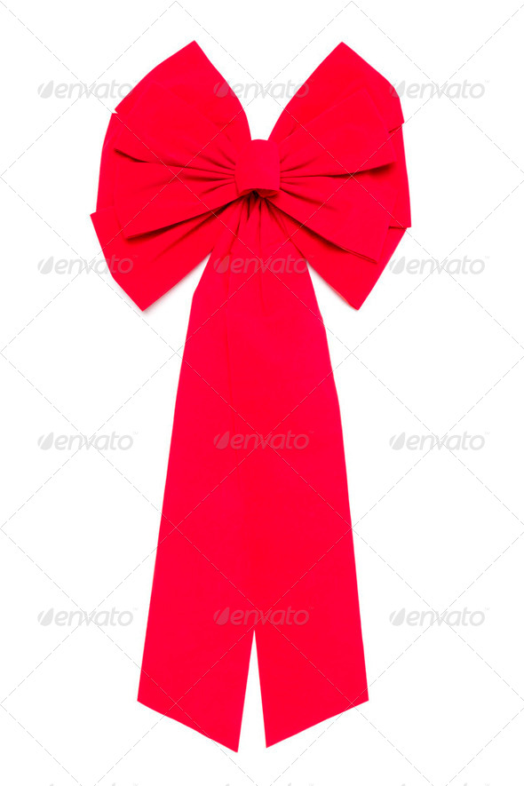 Red Bow With Ribbons Isolated on a White Background. - Stock Photo - Images