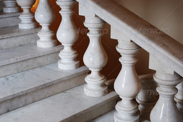 ancient marmoreal stairs with balusters - Stock Photo - Images