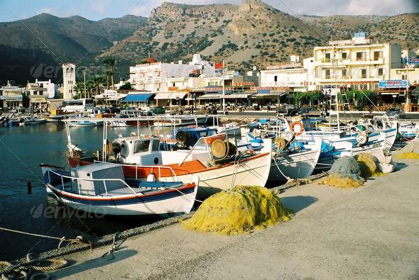 Greek Fishing Harbour - Stock Photo - Images