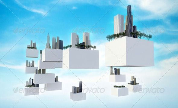 Future sky city in the sky - Stock Photo - Images