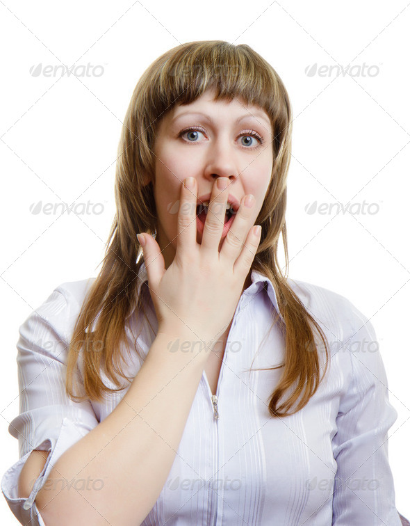 terrified young girl - Stock Photo - Images