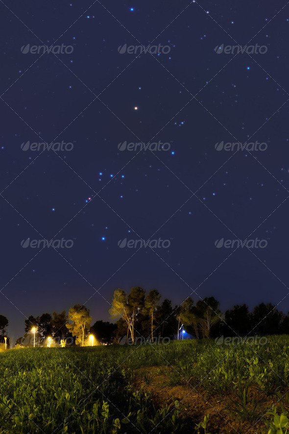 Orion Constellation setting at dusk - Stock Photo - Images