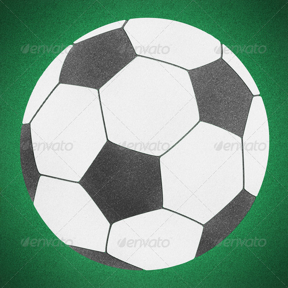 Football soccer ball green grass (clipping path) - Stock Photo - Images