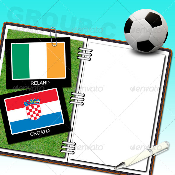 Euro 2012 soccer ball score book ireland vs croatia - Stock Photo - Images