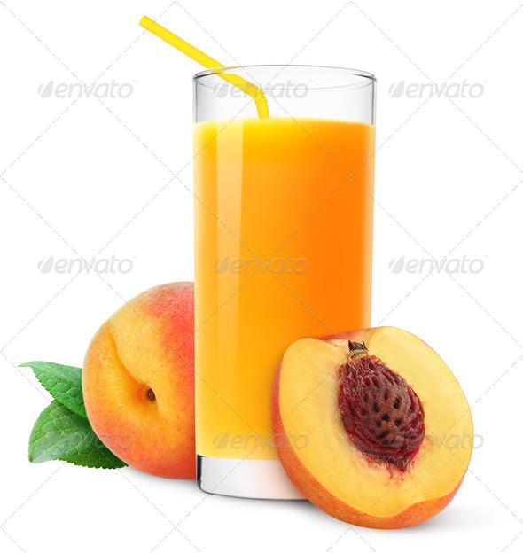 White Peach Juice Glass of peach juice isolated